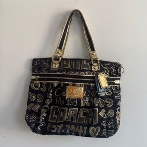 COACH POPPY STORY PATCH GLAM TOTE